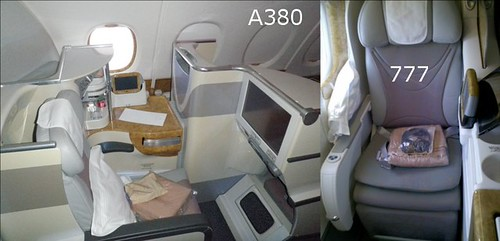 Emirates A380 vs 777 Business Class Seats