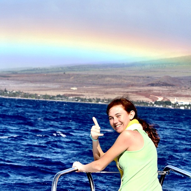 @carouseldancer hanging loose on a #catamaran under a #maui #rainbow