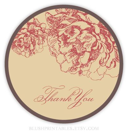 "Vintage Garden - Printable 2.5"" Round Favor Thank You Tag"