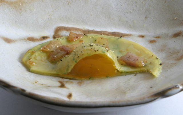 cured egg yolk ravioli