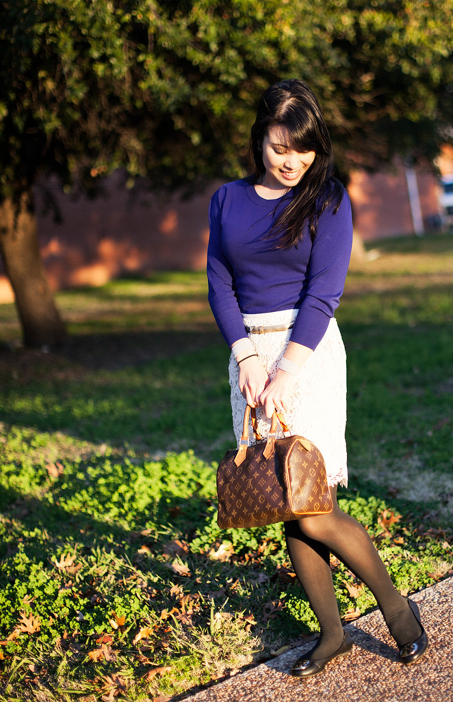 forever 21 royal blue sweater, forever 21 lace pencil skirt, ann taylor gold skinny belt, dkny opague black tights, tory burch reva flats, louis vuitton speedy 25 purse