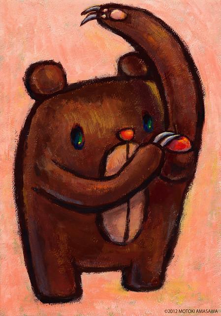 一枚絵32_わきのポケットにリンゴを入れる、クマむー
