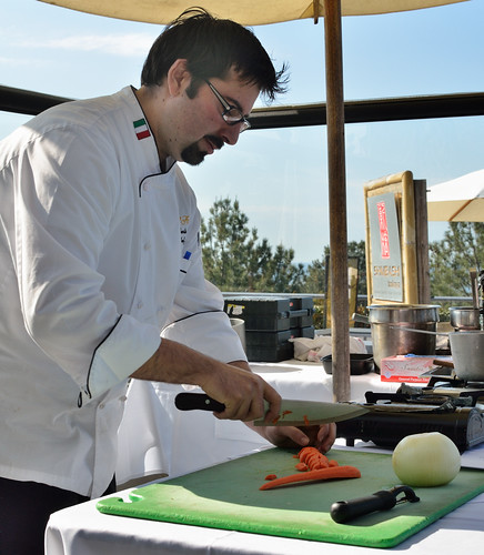 Chef Gerbino Chopping Carrots for Lentil Soup