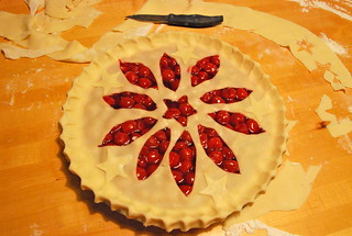 Sour Cherry Pie with Star and flower cut-out pattern