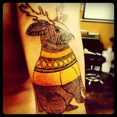 Jackalope Drawing / Tattoo by Michael C. Hsiung