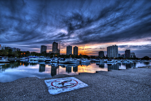 city sunset urban chicago reflection water warning harbor nikon cityscape diving stunning hdr hdri diversey d3000