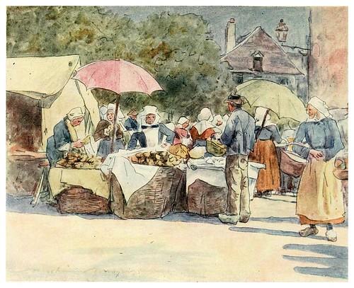 012-Puesto de pan en Vannes-Brittany 1912- Mortimer y Dorothy Mempes