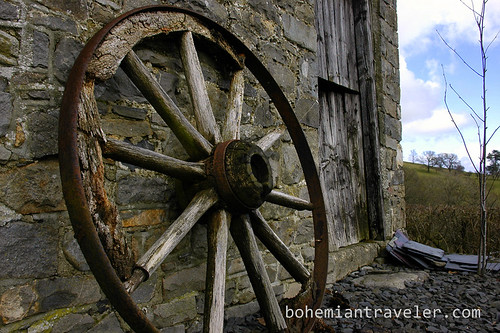 an old wagon wheel in Wales