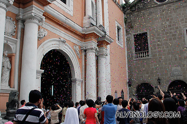 The church was adorned with flying confetti when we arrived
