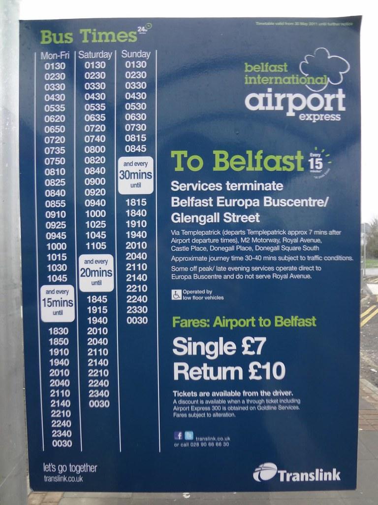 Autocarro Aeroporto de Belfast até centro da cidade, Irlanda do Norte