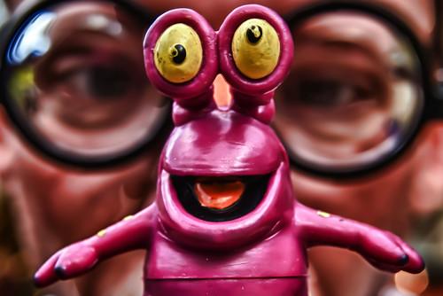 portrait macro self toy glasses nikon geek d200 hdr hoya lpm closeuplens ourdailychallenge hbmike2000 littlepurplemonster useaprop