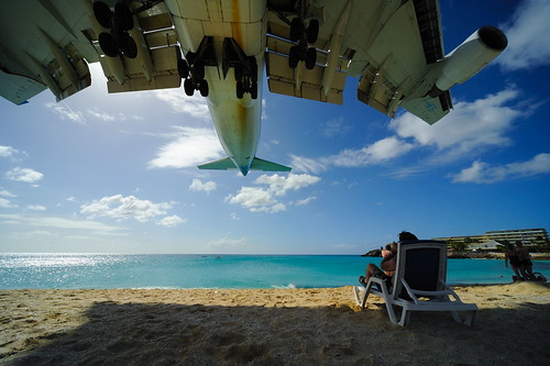 Saint Maarten, at the end of the runway.