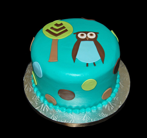 Blue Brown and Green Owl Themed Baby Shower Cake