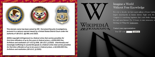 ICE/DHS seized site, blacked out Wikipedia