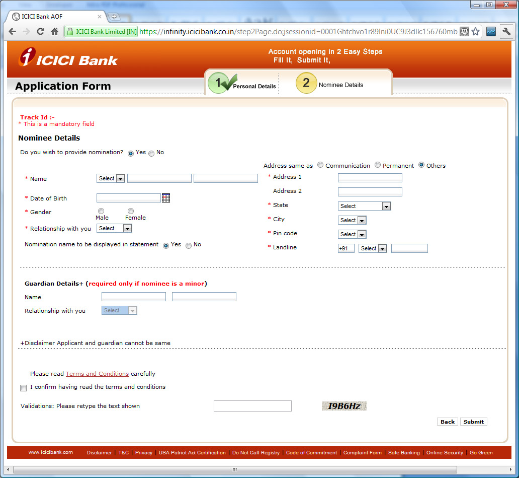 icici saving account form