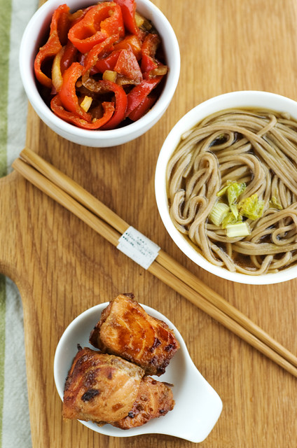 marinated salmon and soba noodles