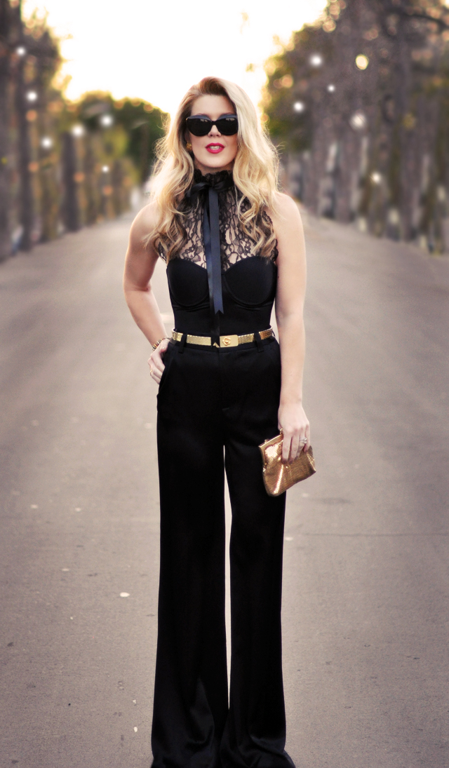Old Hollywood glam-black and gold-outfit meets 70's glam