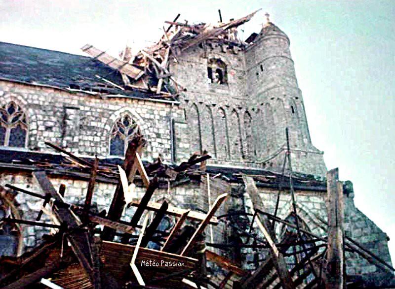 clocher d'Avremesnil abattu par la tempête Daria du 25 janvier 1999 météopassion