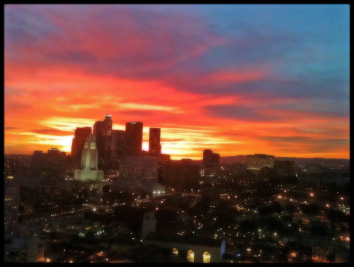 L.A Skyline & Sunset, Jan. 24 by JulieAndSteve