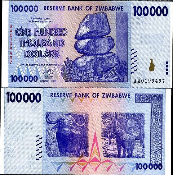 100 000 dolárov Zimbabwe 2008, Pick 75
