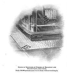 Illustration of Barthman's sidewalk clock featured in Technical World Magazine (September 1905).