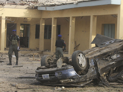 A radical Islamic group, Boko Haram, carried out a series of bombings in Kano, in northern Nigeria, including an attack on police headquarters, shown in this photo from Jan. 22. by Pan-African News Wire File Photos