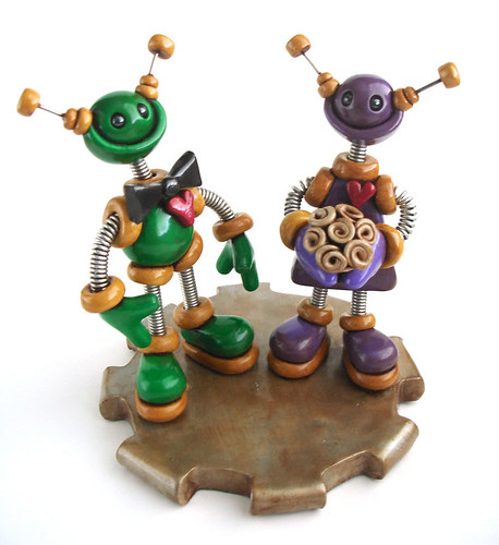Robot Wedding Cake Topper | Green and Purple Rustic Bot by HerArtSheLoves