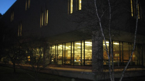 Connecticut College library at night (daily photo, 1/30/12)