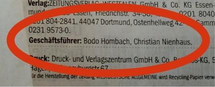 Westdeutsche Allgemeine Zeitung (WAZ): Impressum 02.02.2012 (Bodo Hombach, Christian Nienhaus)