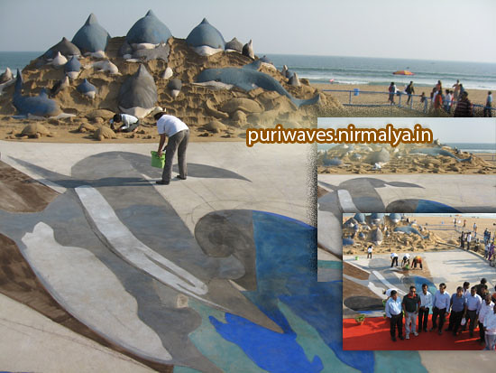 3D Paintings & Sand Sculpure By Two International Artists At Puri