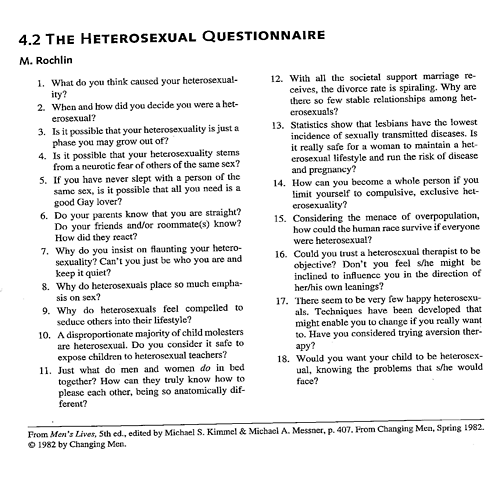 The heterosexual questionnaire, attributed to Dr. Martin Rochlin in 1977, was designed to turn the table on hegemonic assumptions of heterosexual normalcy