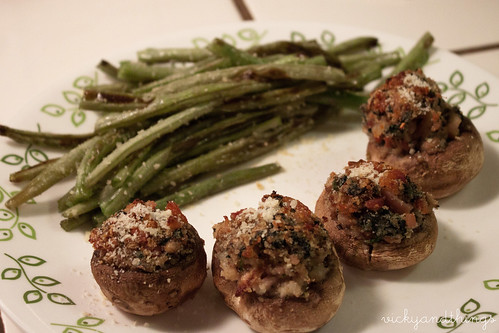 Stuffed mushrooms and Parmesan roasted green beans