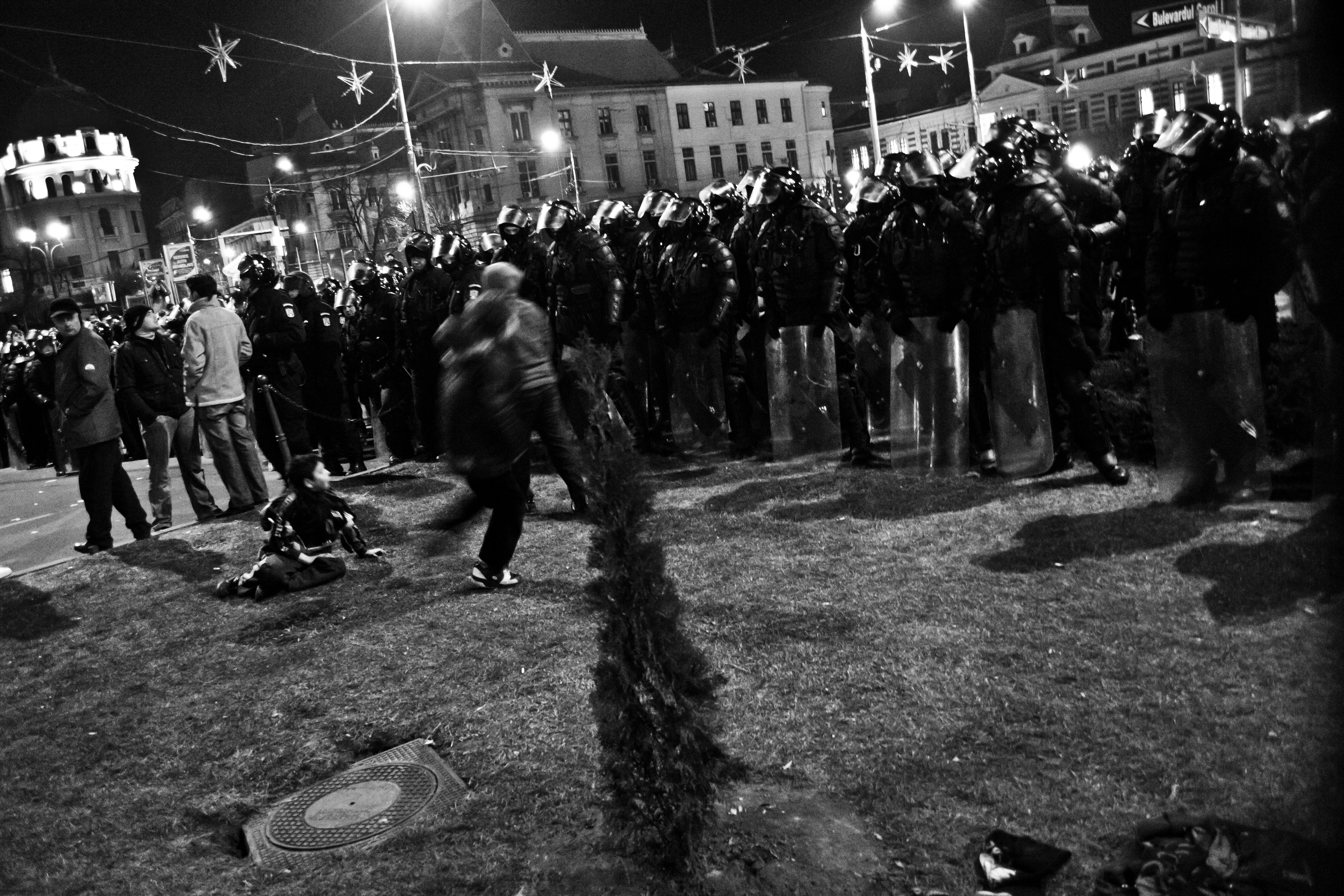 Bucharest antigovernment protests, University Square, January 19th 2012