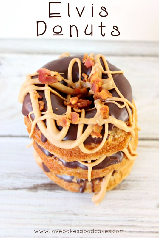 Elvis Donuts - banana donuts with a chocolate glaze, peanut butter drizzle and crumbled bacon