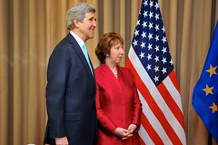 Secretary Kerry Poses With EU High Representative Ashton Before Ukraine Talks in Geneva