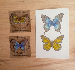 Butterfly notecards and brooches