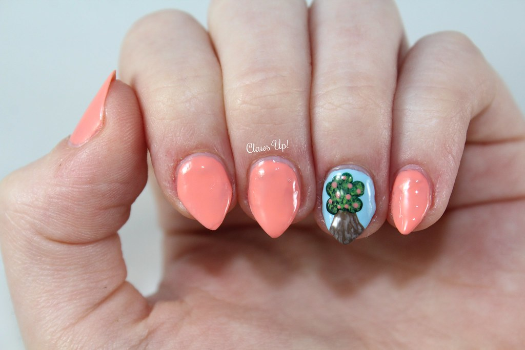 Ciate Life's a Peach swatch and peach tree nail art.