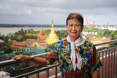 Grandma Bunrod at the skyriver restaurant in Yangon