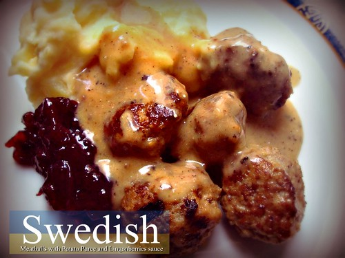 Swedish Meatballs with Potato Puree and Lingonberries sauce