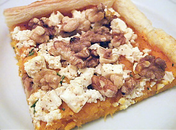 Pumpkin pie with feta and walnuts