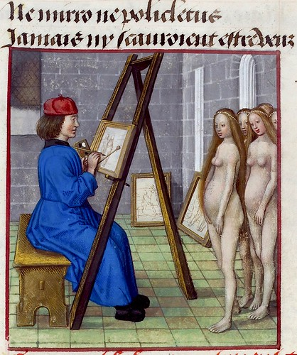 Xeuxis painting models. detail. Roman de la rose.. c.1490-1500. BL by tony harrison