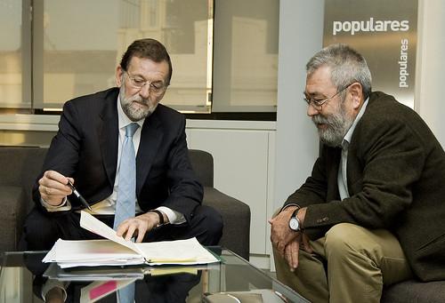 Reunion de Rajoy con Cándido Mendez (UGT)