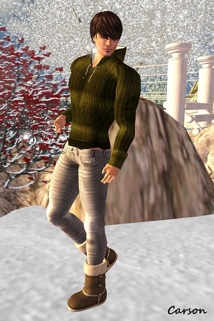 ROSENWOLF DESIGN Knit Moss Hooded Sweater, American Bazaar - Stripes Grey Jeans,  [BedlaM]  - Ugg Boots