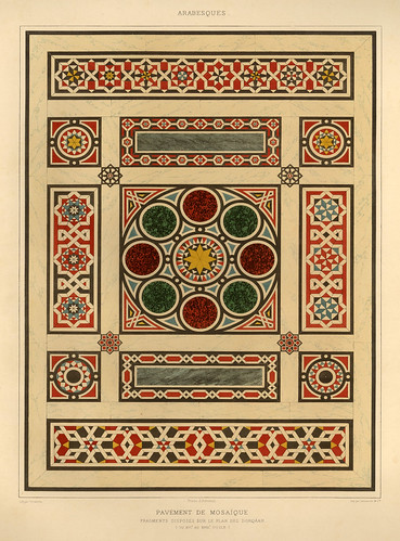 005-Pavimento de mosaico-siglos XVI-XVII-L'art arabe d'apres les monuments du Kaire…Vol 1-1877- Achille Prisse d'Avennes y otros