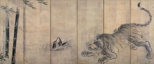 竹虎図屏風(右隻)