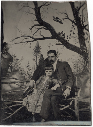 Tintype of Father and Daughter with a Naive Painted Backdrop by Photo_History