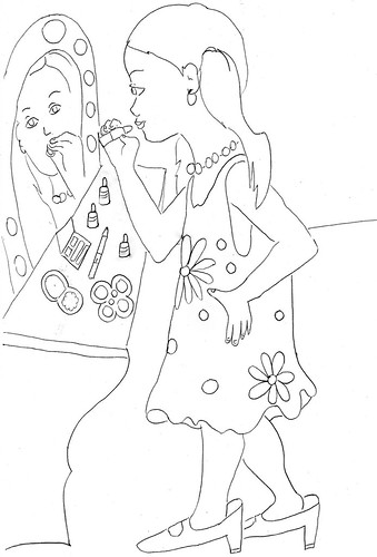 niña pintándose