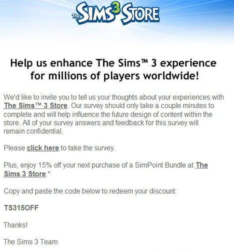 Sims 3 coupon code simpoints august 2018