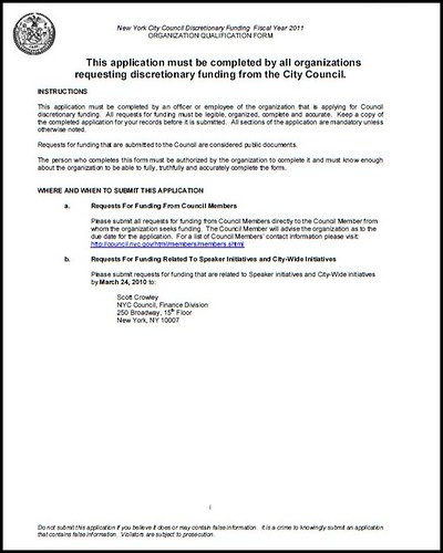 New York City Council application for discretionary funding grants