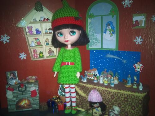 Manuela luciendo disfraz de Elfo